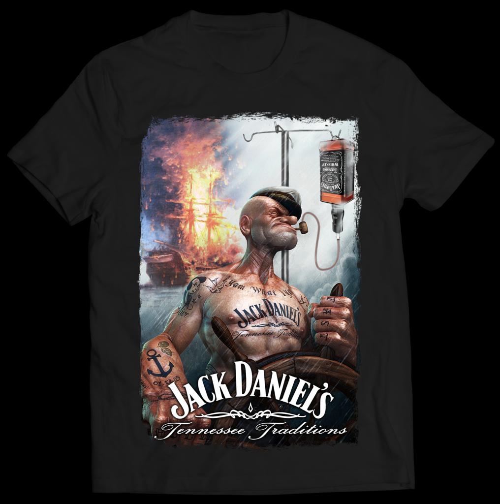 Tshirt jack daniel popeye tatoue