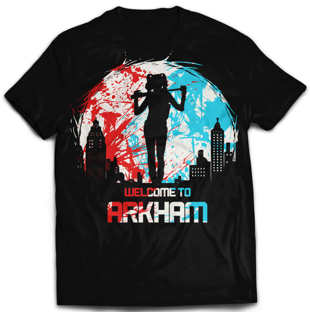 T-shirt welcome to Arkham Harley queen joker